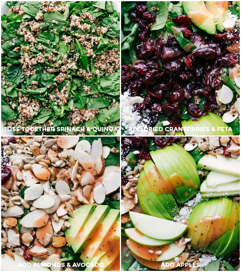 Images of the quinoa, cranberries, feta, almonds, avocado, and apples on the spinach.