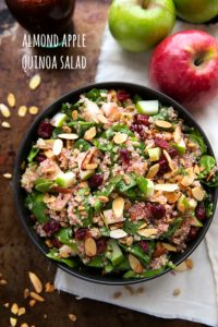 Simple almond, cranberry, and apple quinoa salad