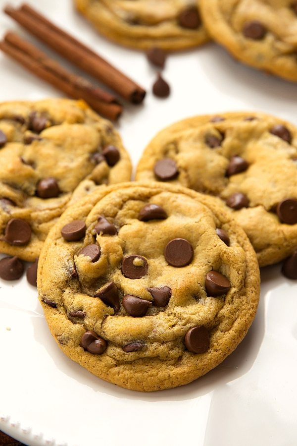 The BEST pumpkin chocolate-chip cookies -- made in one bowl, no mixers needed!