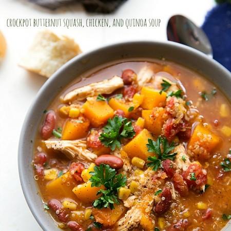 Crockpot Butternut Squash, Chicken, and Quinoa Soup