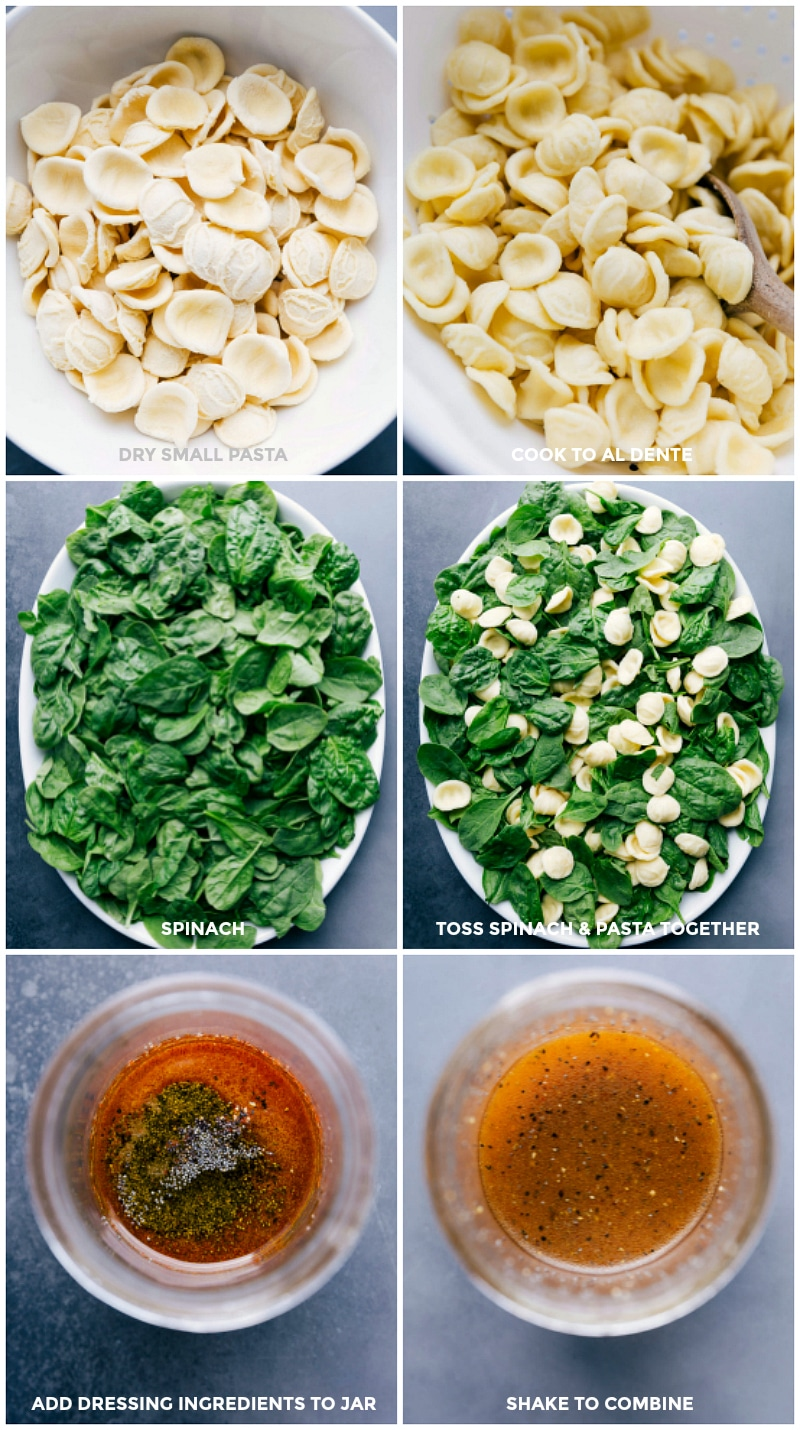 Process shots-- images of the pasta being cooked, spinach being prepped, and dressing being made