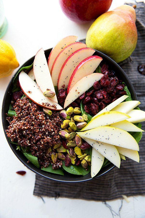 Apple Quinoa Spinach Salad