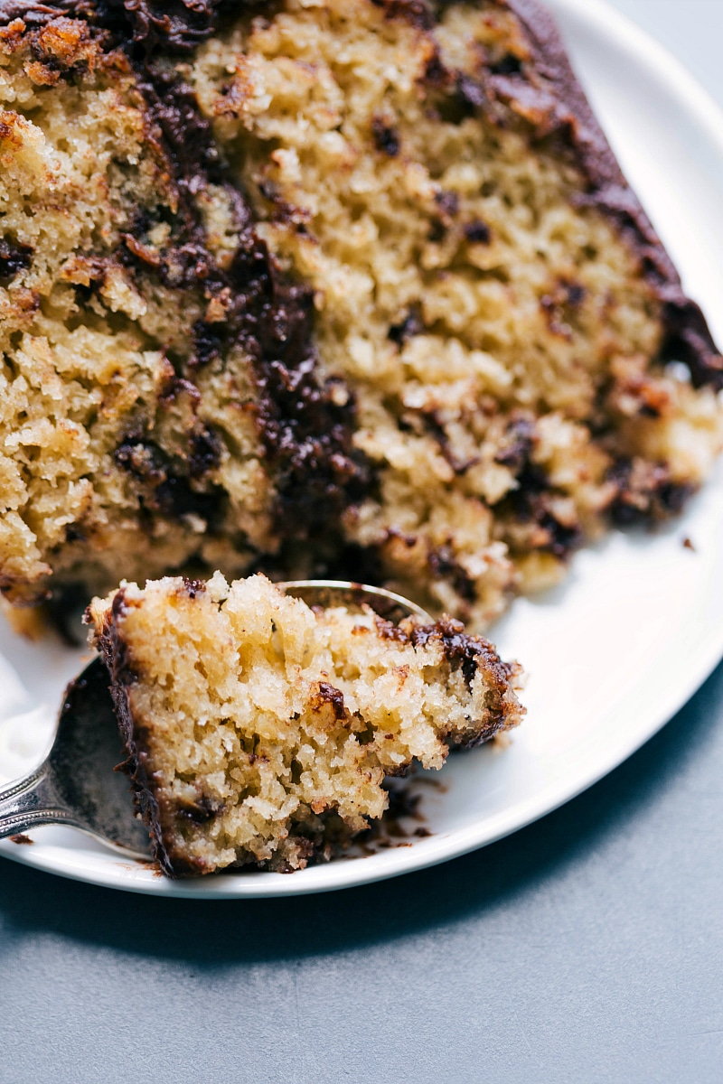 Image of a slice of Banana Chocolate Chip Cake with a bite missing.
