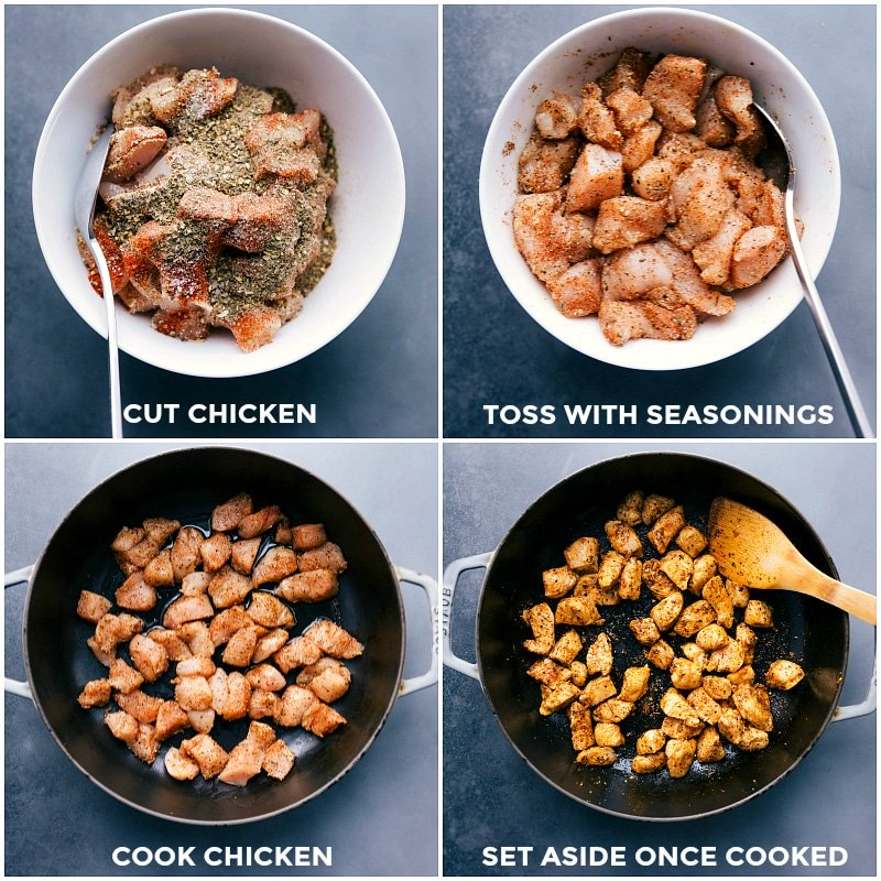 Process shots-- images of the cut chicken being tossed with seasonings; cooked in a skillet; set aside when cooked.