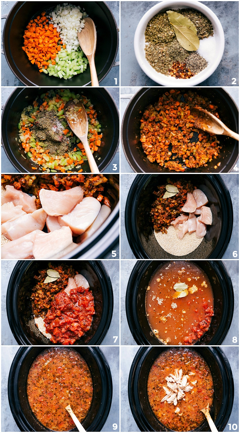 Process shots-- images of the ingredients being added to the crock-pot and then stirred together and prepped to cook.