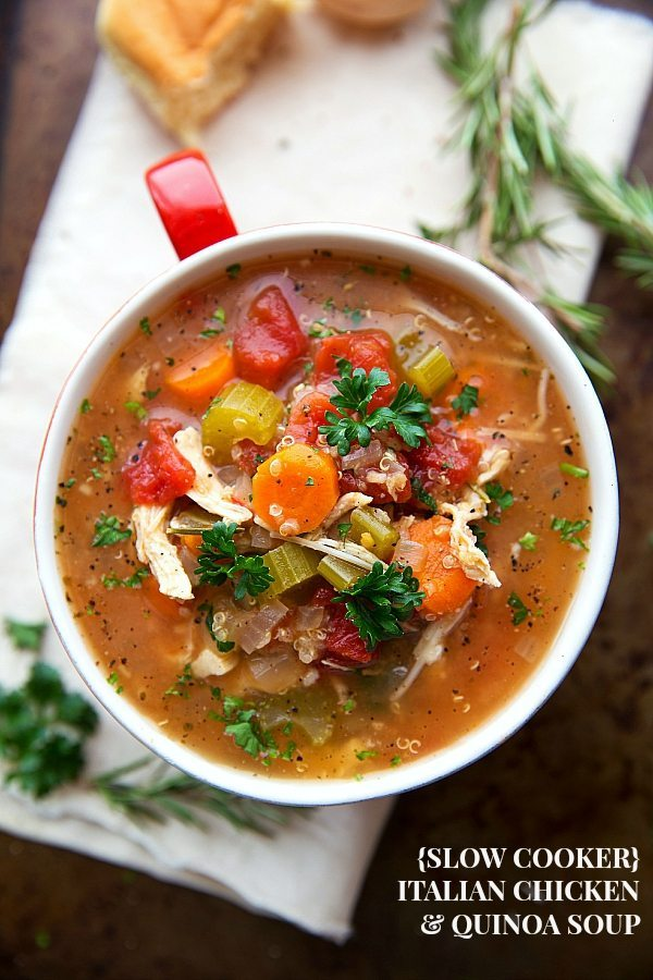 Delicious and EASY (dump it and forget it!) Crockpot Italian Chicken Quinoa Soup