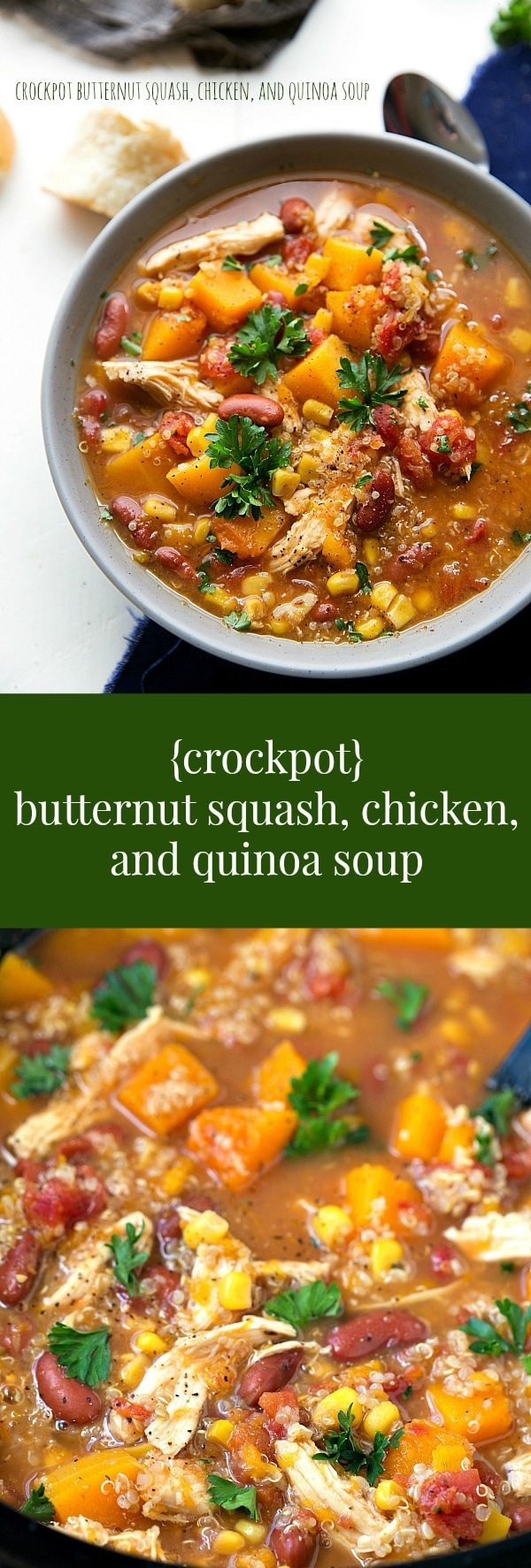 Dump it and forget it!! A super simple slow cooker butternut squash, chicken, and quinoa soup. The crockpot does all the work!