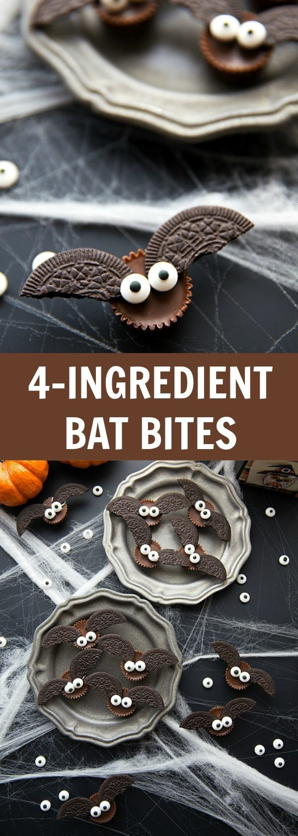 Easy, cute, festive, and fun-to-make Halloween treats -- each with four ingredients or less. Monster eyeballs, witches hats, witches brooms, and bat bites. Video tutorial included! Recipes via chelseasmessyapron.com