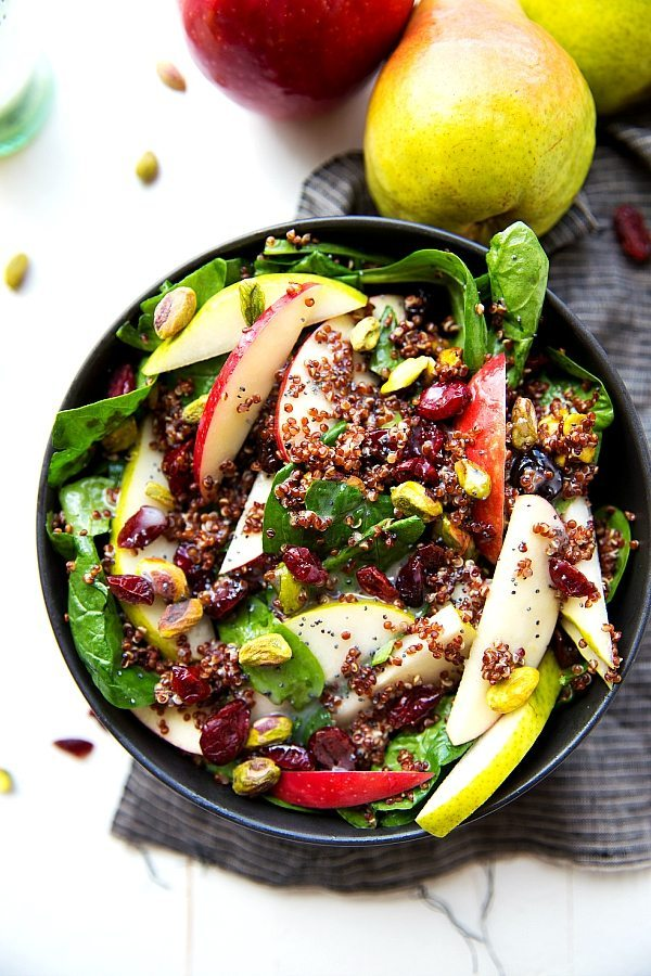 delicious and simple to make red quinoa salad with apples, pears ...