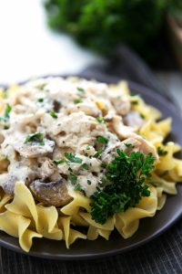 Easy Chicken Stroganoff made in the CROCKPOT -- no cream of soups