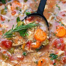 Delicious and EASY Crockpot Italian Chicken Quinoa Soup