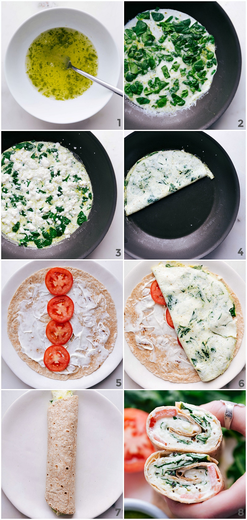 Process shots-- images of the egg whites being mixed with the pesto, then showing the spinach being mixed in, then everything being added to a tortilla and rolled up.