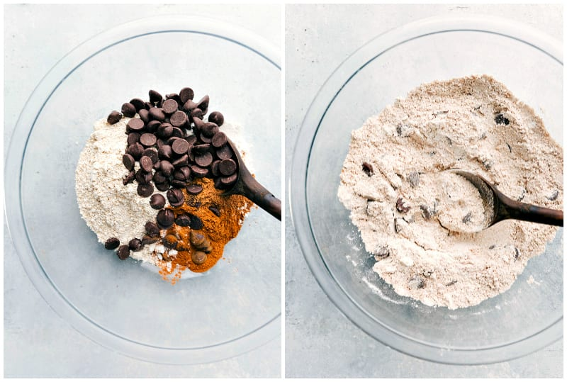 Photos of healthy pumpkin bread being made -- dry ingredients being combined.