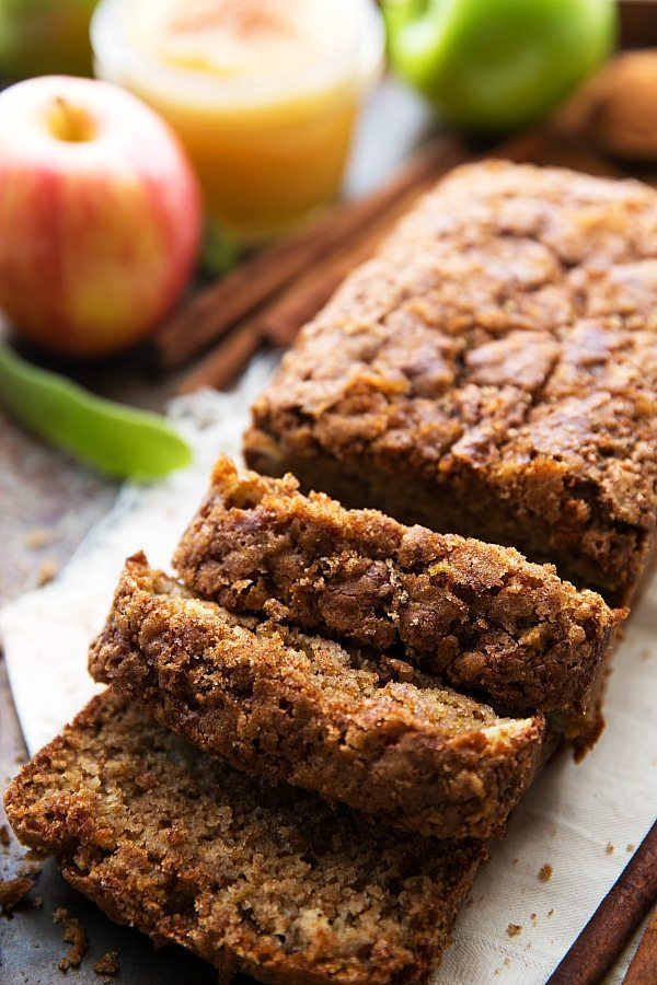 Healthier Greek Yogurt Applesauce Spice Cake with tender apple chunks!