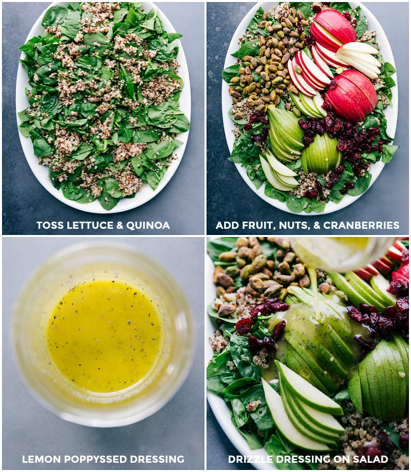 Process shots-- images of the spinach being tossed with the quinoa; fruits, nuts, and cranberries being added; the dressing being mixed; and then drizzled over the salad.