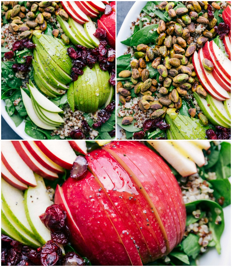 Process shots-- images of the sliced pears and apples being added to the salad.