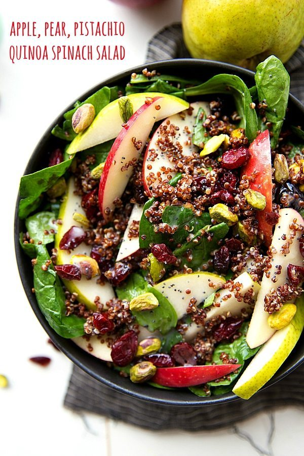 make red quinoa salad with apples pears pistachios dried cranberries ...