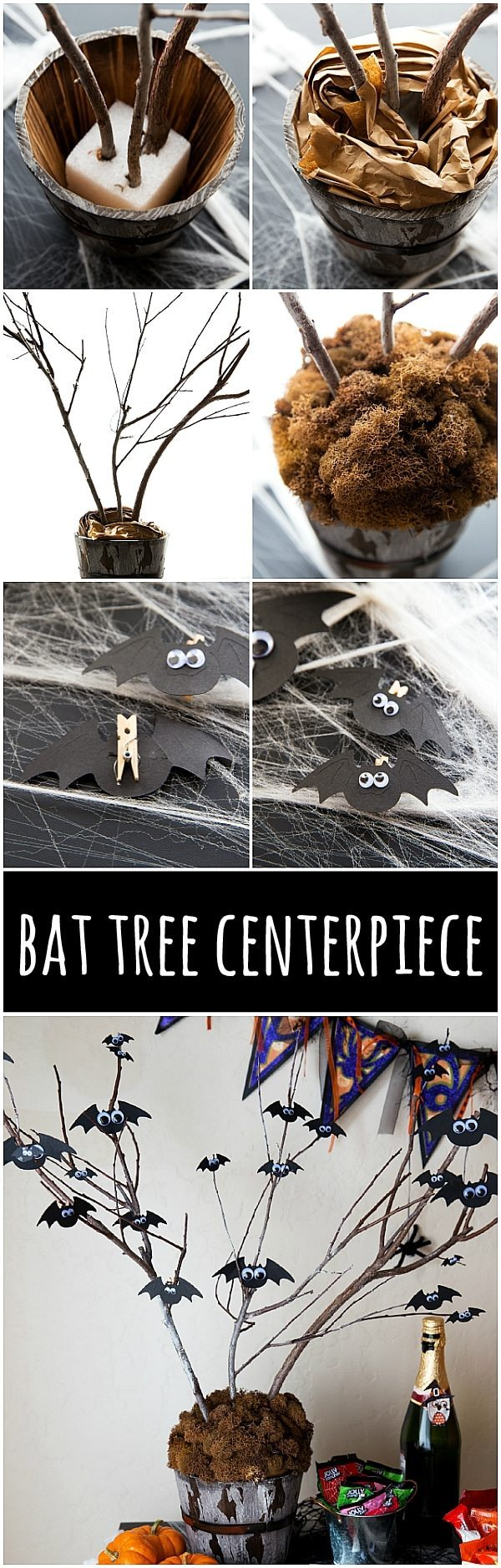 SIMPLE DIY BLACK BAT TREE CENTERPIECE