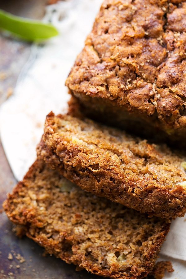 TONS of healthier swaps -- Greek yogurt applesauce spice bread