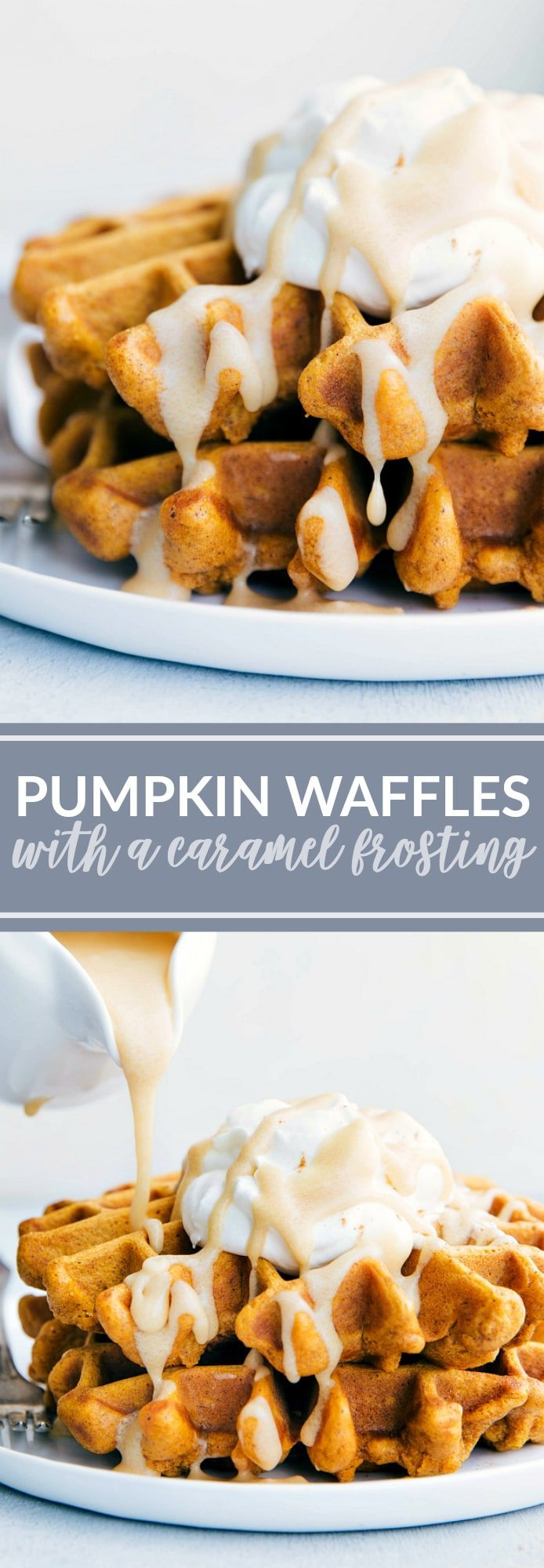 The ultimate BEST EVER PUMPKIN WAFFLES with a 3-ingredient caramel frosting! via chelseasmessyapron.com