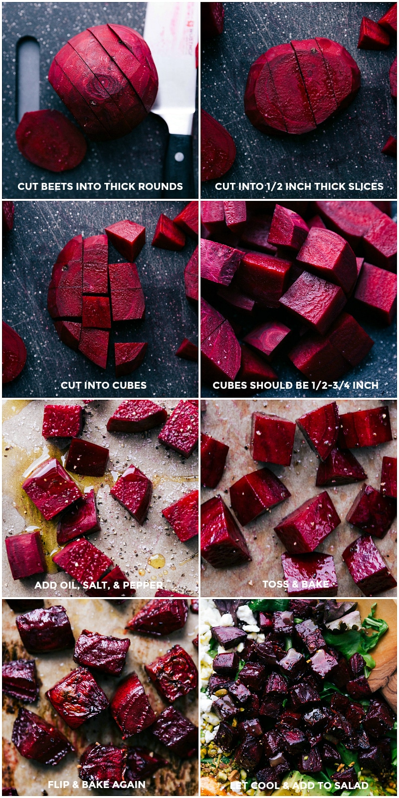 Process shots-- images of the beets in various stages of being cut up and roasted.