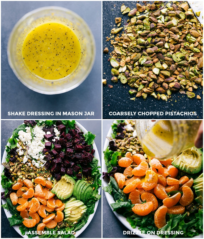 Process shots-- images of the dressing in a mason jar; the chopped pistachios; and the salad being assembled.