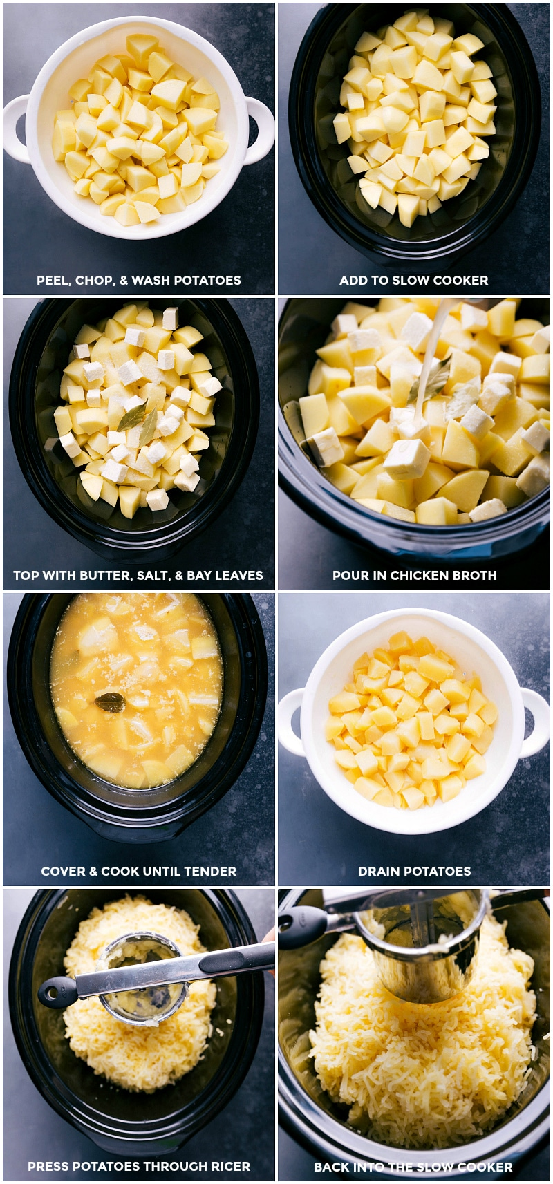 Process shots-- images of the chopped potatoes being added to a slow cooker; butter, salt and bay leaves added, along with chicken broth; cover and cook; drain and press potatoes through a ricer; return to cooker.