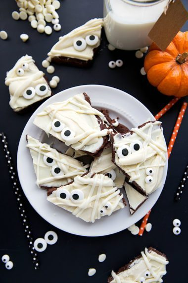 Mummy Brownie Batter Bark