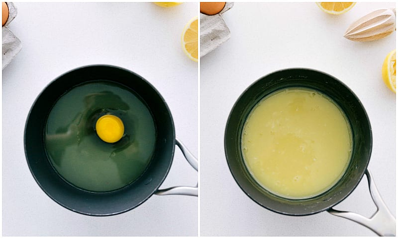 Process shots for making frog eyed salad -- showing the custard being made