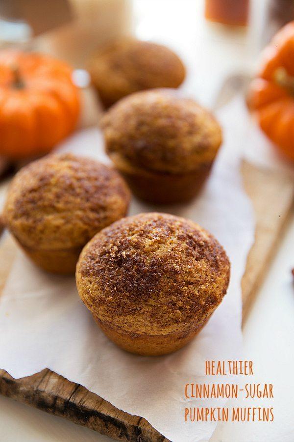 Greek Yogurt Pumpkin Cheesecake Muffins -- made with healthier ingredients + whole wheat