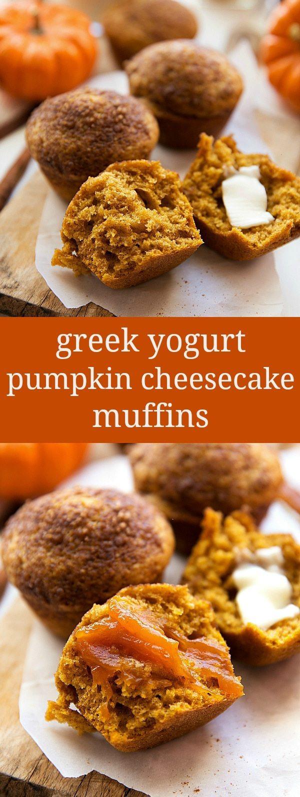Healthier whole-wheat pumpkin cheesecake muffins made with Greek yogurt