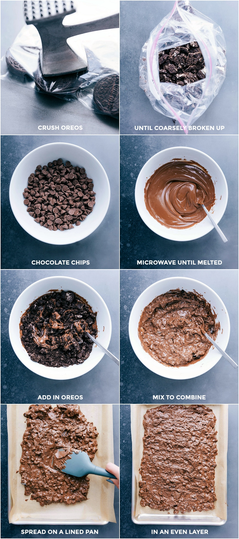 Process shots-- images of the Oreos being crushed; chocolate being melted; chocolate and Oreos being combined and spread over a sheet pan.