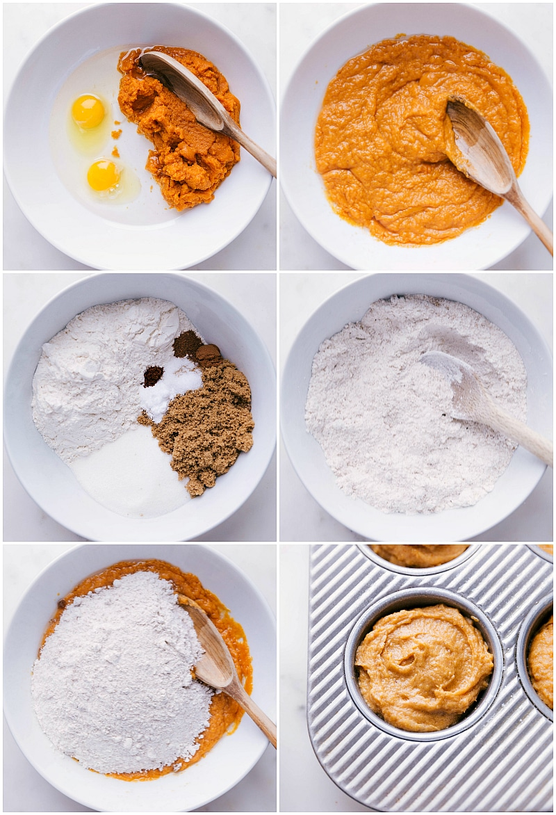Process shot-- image of the pumpkin muffin dough being made and put in a muffin tin