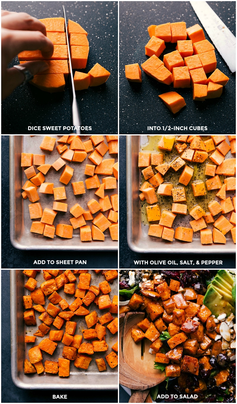 Process shots: dice sweet potatoes and toss with olive oil, salt and pepper; bake on a sheet pan and then add to the salad.