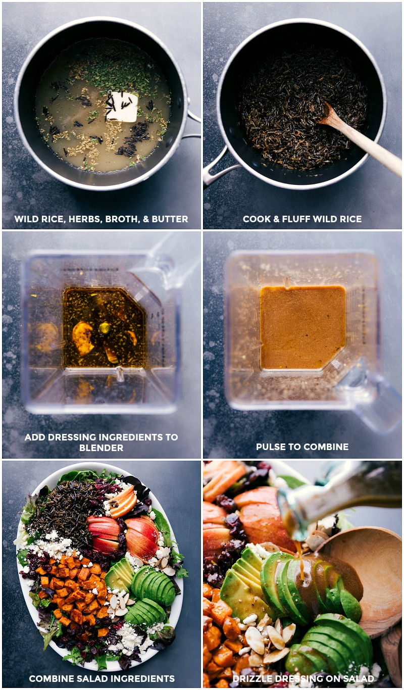 Process shots: combine wild rice, herbs, broth and butter; cook and fluff; make dressing by blending all ingredients; combine salad ingredients on a large platter; drizzle dressing over all.