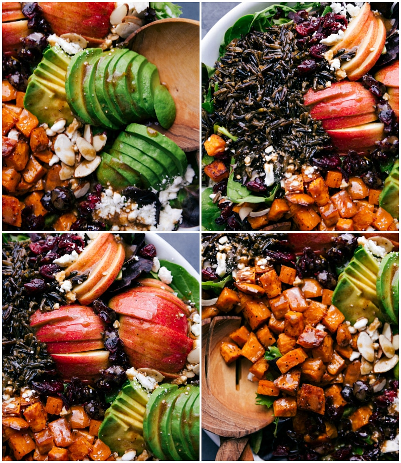 Overhead views of Roasted Sweet Potato Salad, showing the sliced avocados, wild rice and apples and of course, the roasted sweet potatoes.