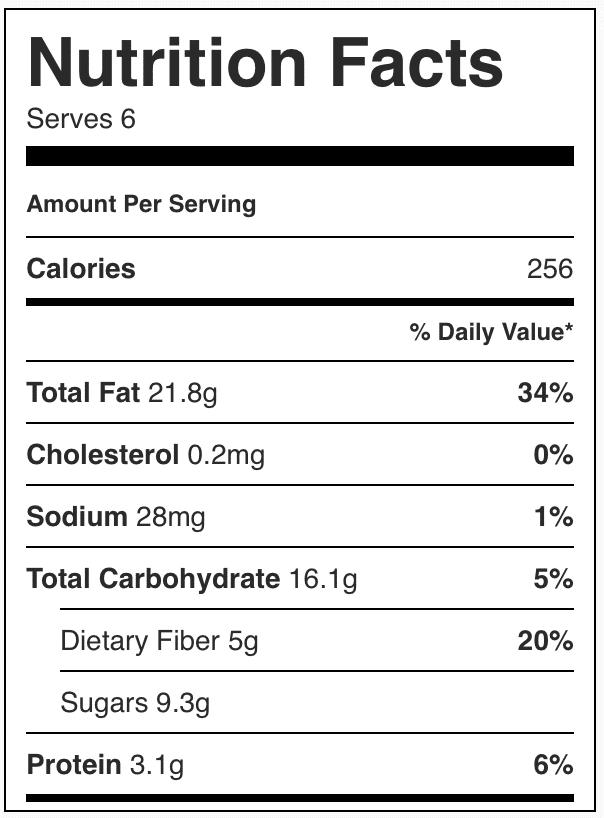 Nutrition facts in beet and goat cheese salad