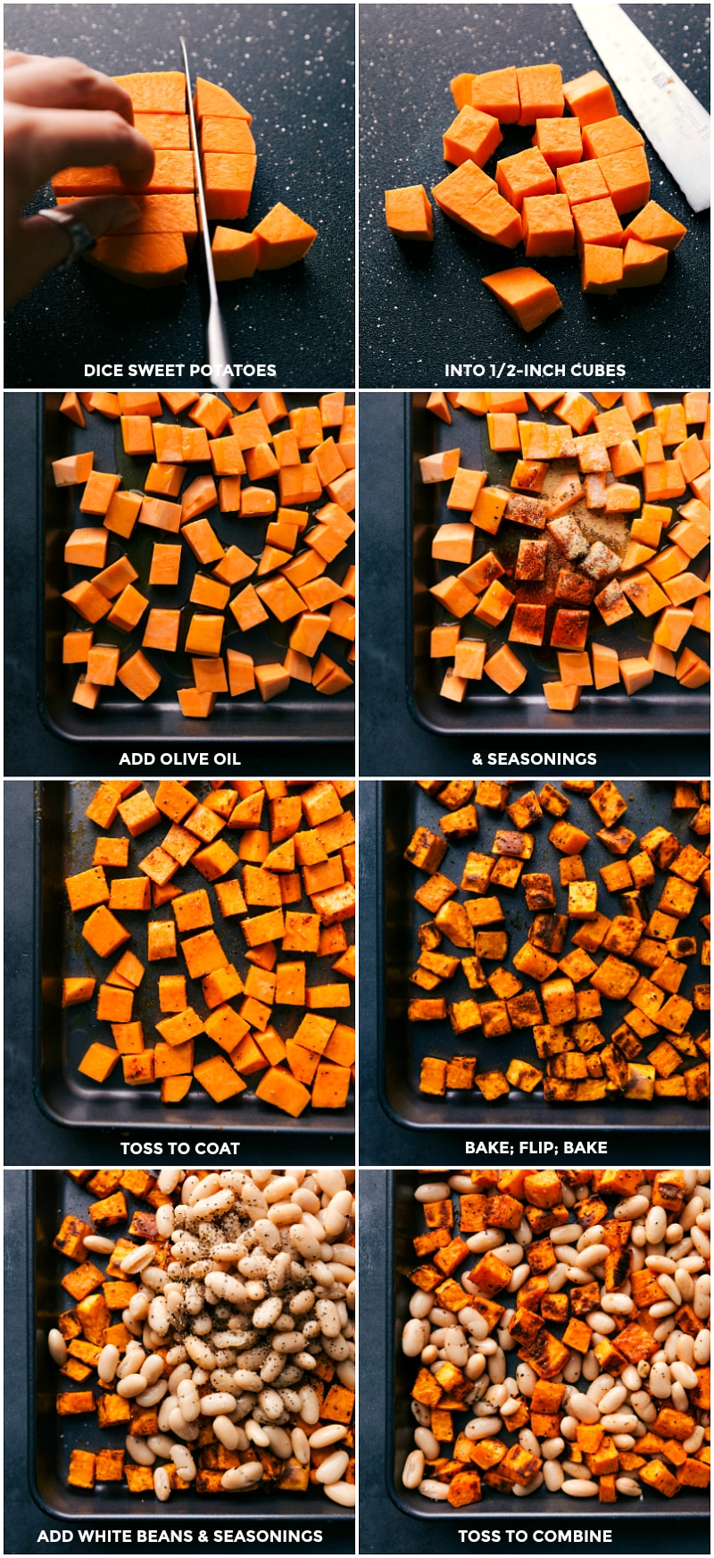 Process shots-- images of the sweet potatoes being cut and put on a tray to be roasted with seasonings, then the white beans being added on the freshly roasted sweet potatoes to warm through