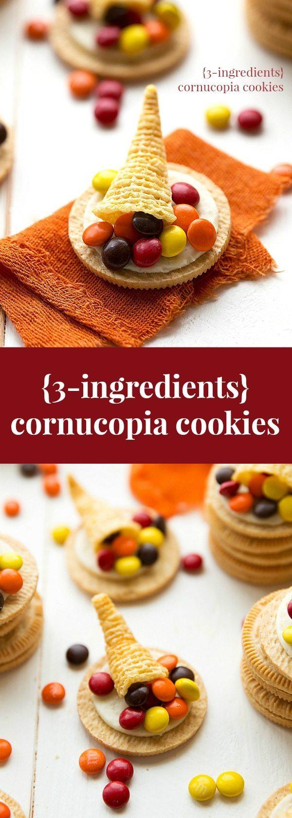 The easiest Thanksgiving treat -- three ingredient cornucopia cookies!