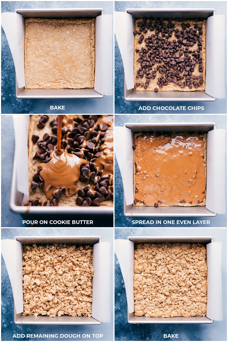 Process shots-- images of the chocolate chips being added to the baked oatmeal layer; cookie butter being poured on top of chocolate; and the remaining oatmeal dough being added on topped and baked.