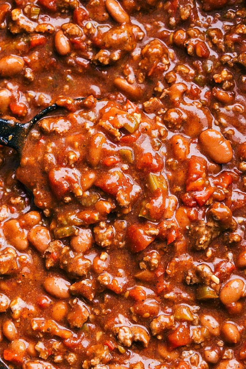 Up close and overhead shot of the crockpot chili in the slow cooker