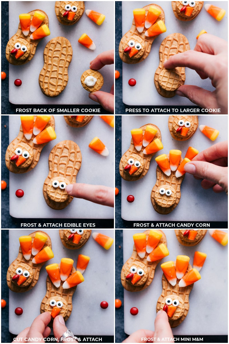 Step-by-step shots of the turkey cookiesassembly