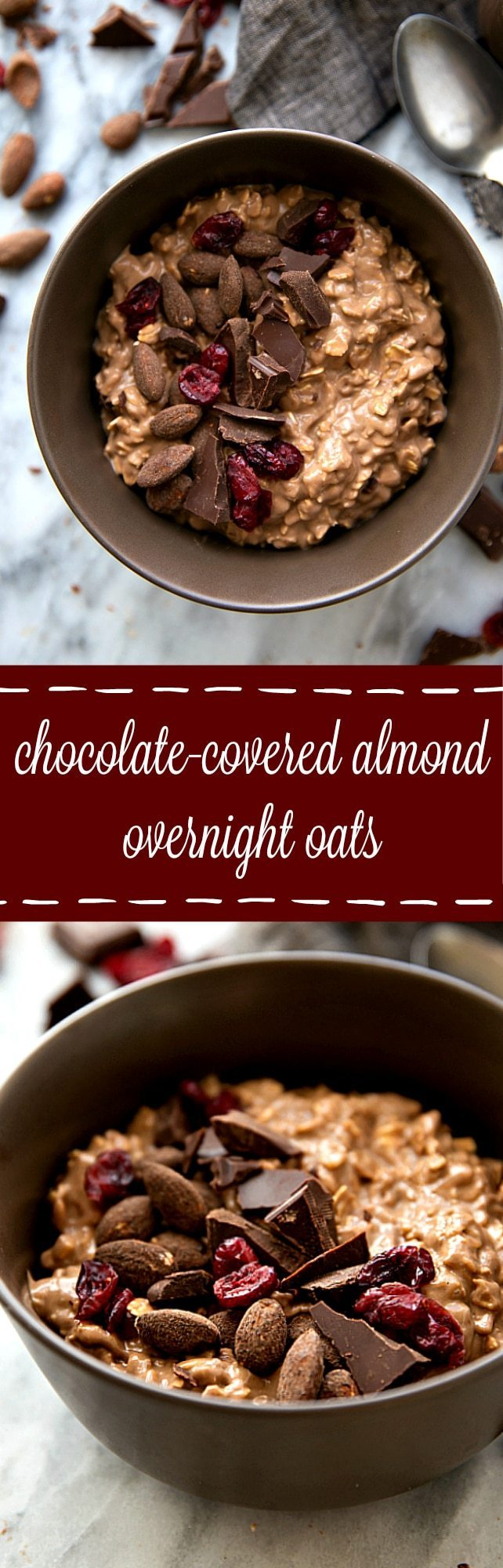Overnight oatmeal flavored to taste like chocolate-covered almonds. Add in some dried cranberries and enjoy a delicious, quick,&easyseasonal breakfast!