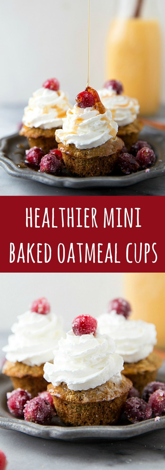 Quick and simple miniature baked oatmeal cups with an eggnog flavor. Made with healthier ingredients!