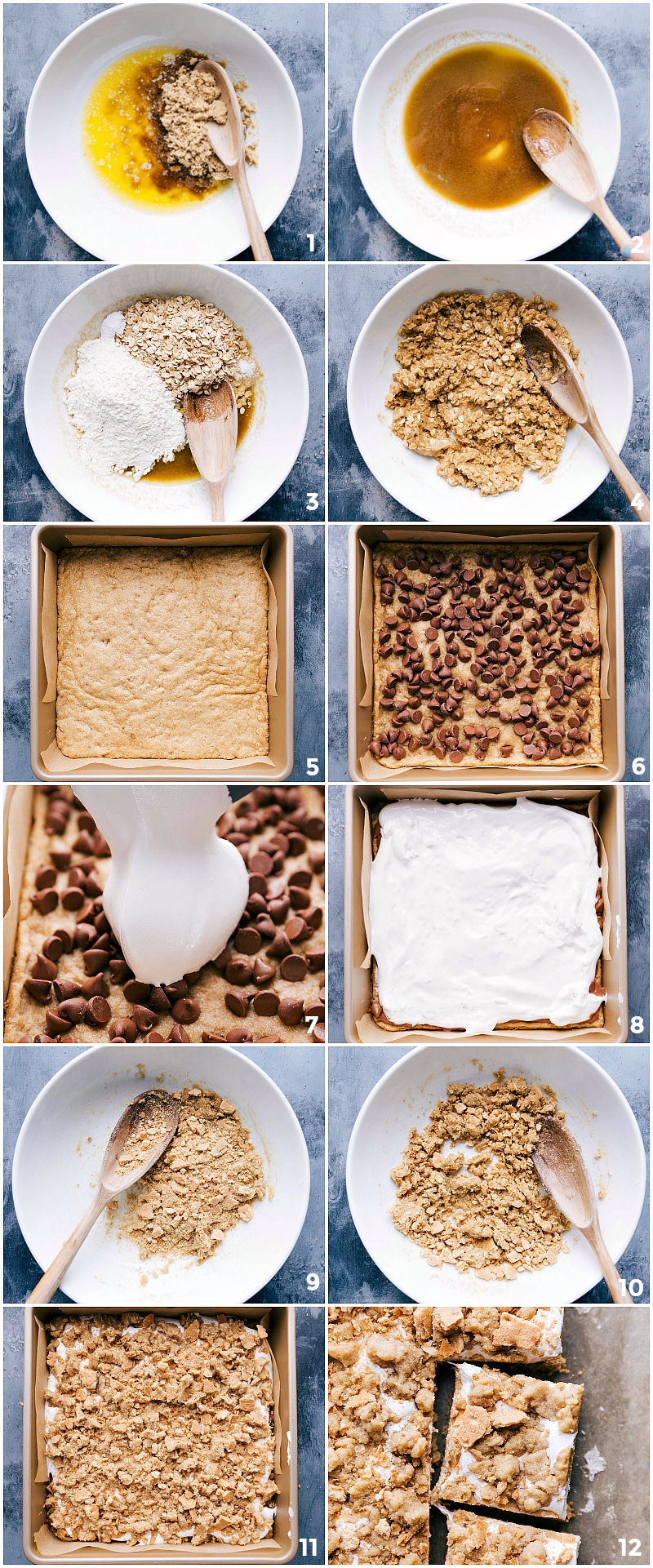 Process shots-- images of cookie layer being made and then put in the prepared pan, then baked, and the chocolate chips and Marshmallow Fluff being added on top. Then images of the crumble topping being put on top and baked ready to be eaten. And finally a finished shot of the s'mores cookie bars.