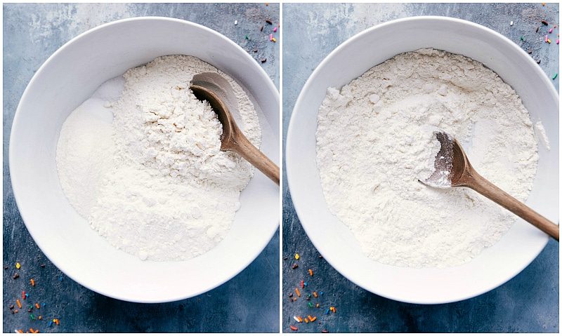 Process shot-- image of all the dry ingredients in a bowl for these Cake Batter Cookies.