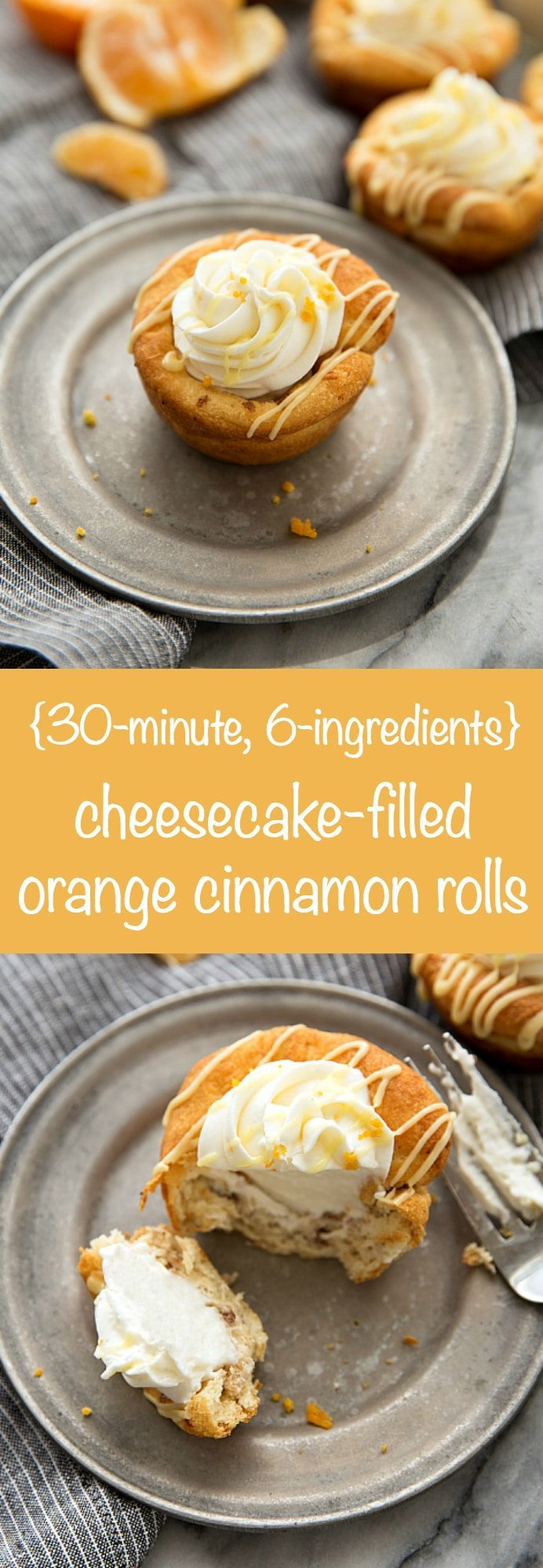 EASY 30-minute, 6-ingredients cheesecake stuffed orange cinnamon rolls