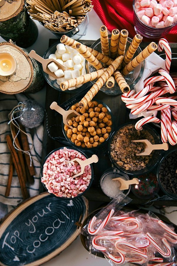 Overhead photo of an assembled Hot Chocolate Bar