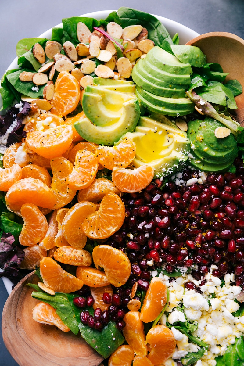 Overhead image of Orange Pomegranate Salad dressed and ready to be served.