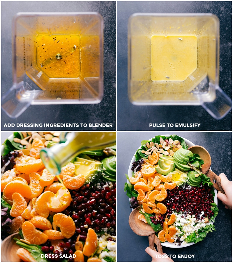Process shots-- images of the dressing being made and then being poured over the salad.